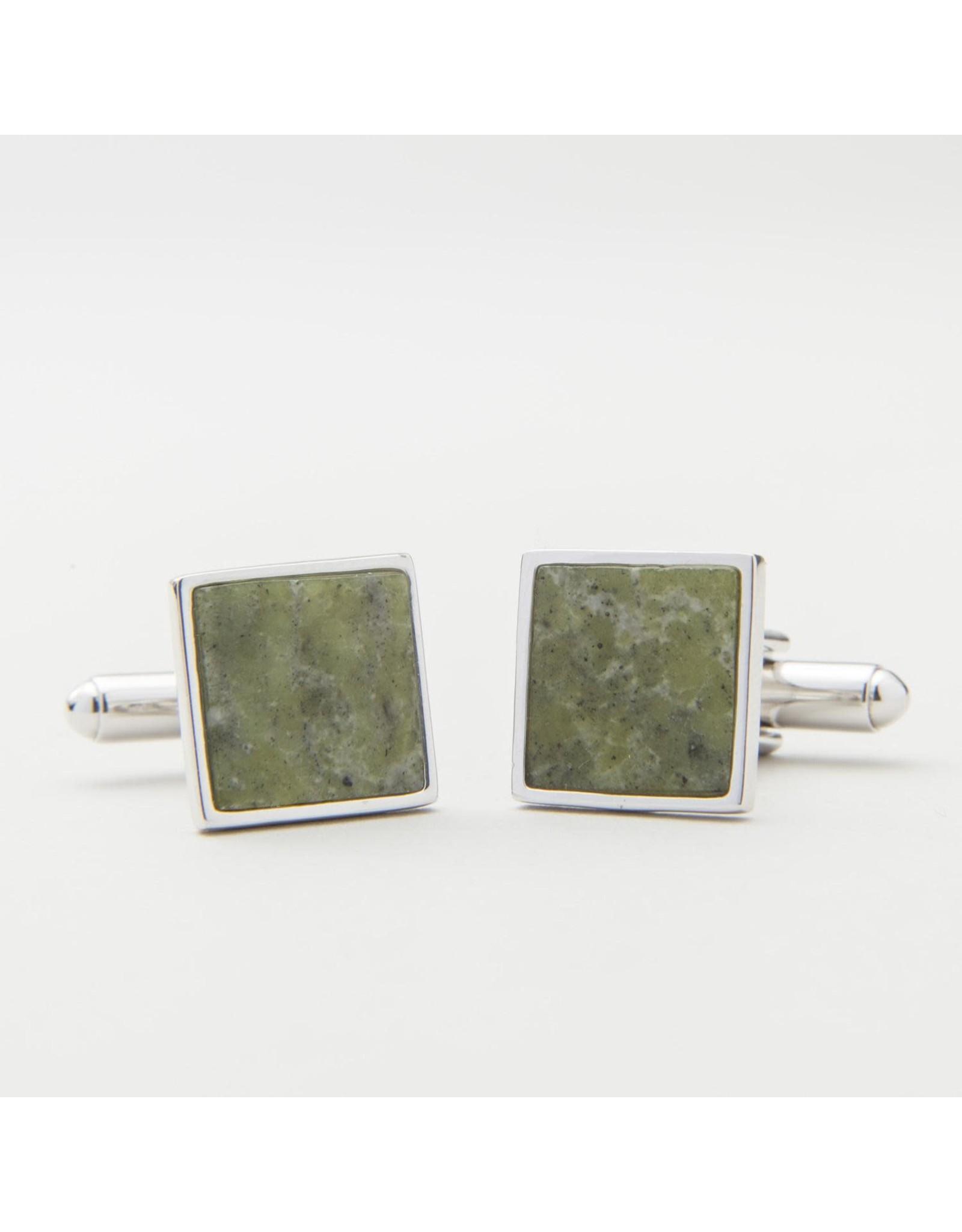 JC Walsh Connemara Marble Cufflinks:  Square