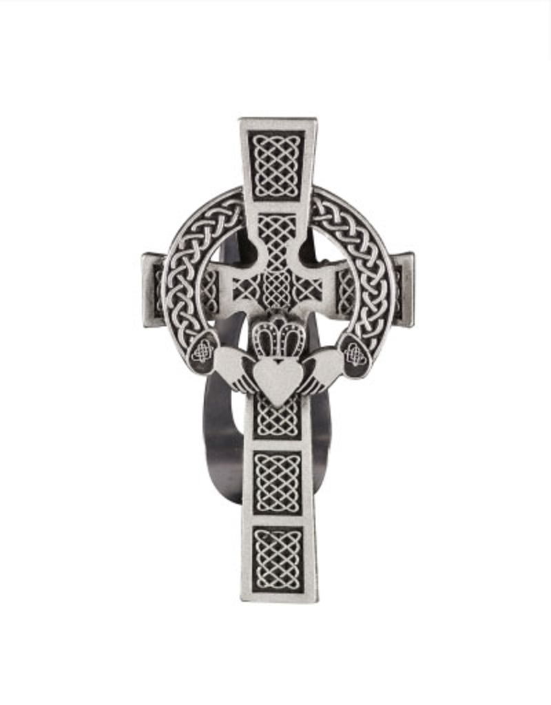 Cathedral Art Visor Clip:  Claddagh Cross