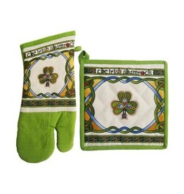 Royal Tara Shamrock Oven Mitt & Pot Holder: Irish Weave