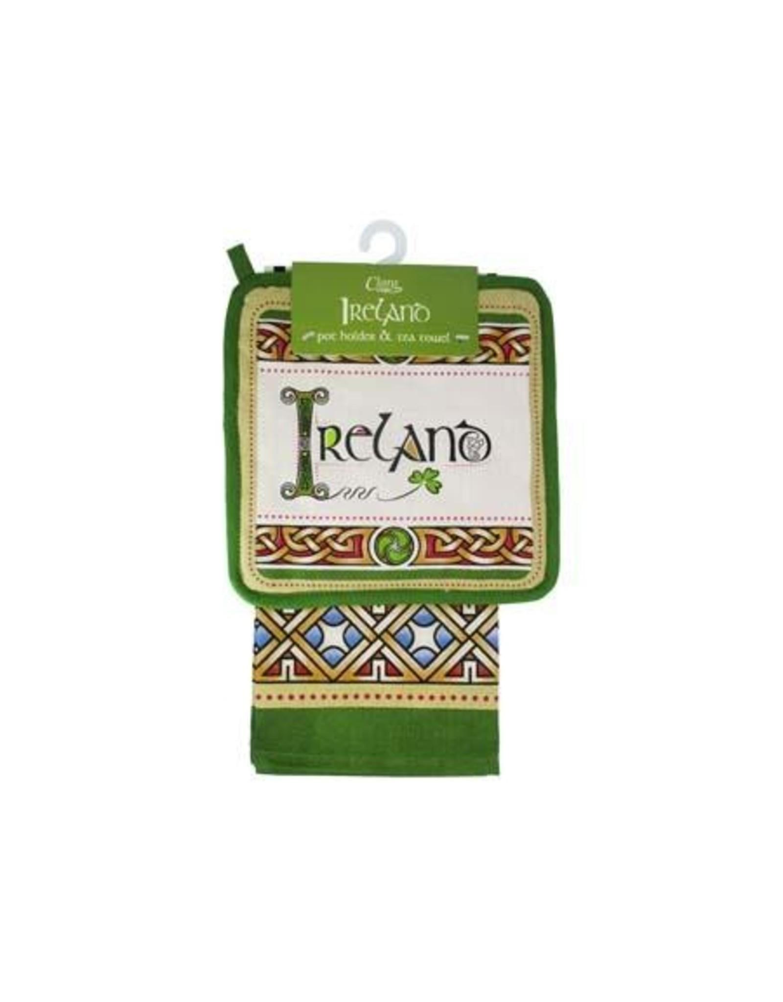 Royal Tara Ireland Cream/Grn Pot Holder + Tea Towel