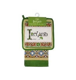 Royal Tara Ireland Cream/Grn Pot Holder + Tea Towel