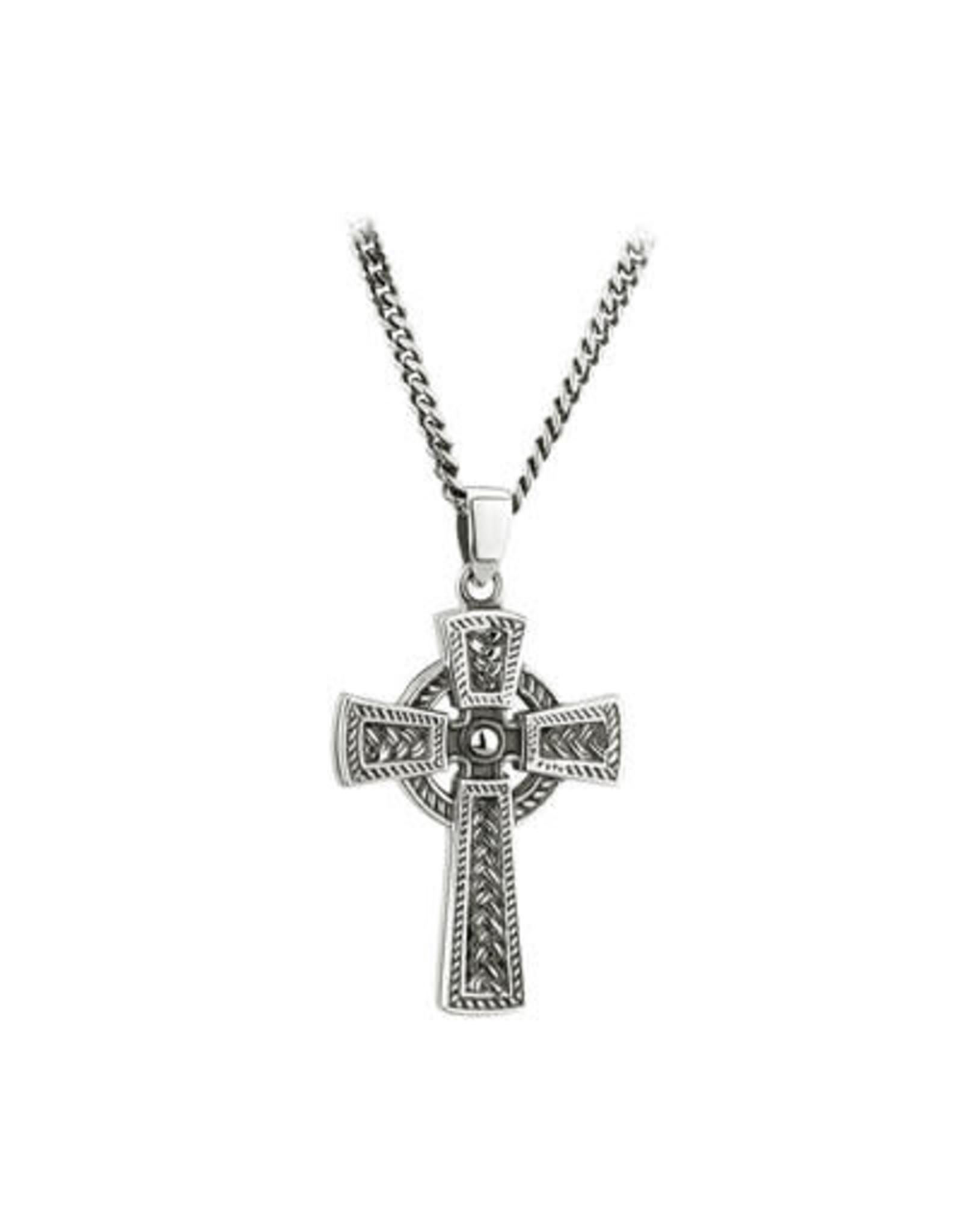 Solvar Oxidized Silver Men's Celtic Cross Weave