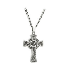 Solvar Oxidized Silver Men's Celtic Cross Weave