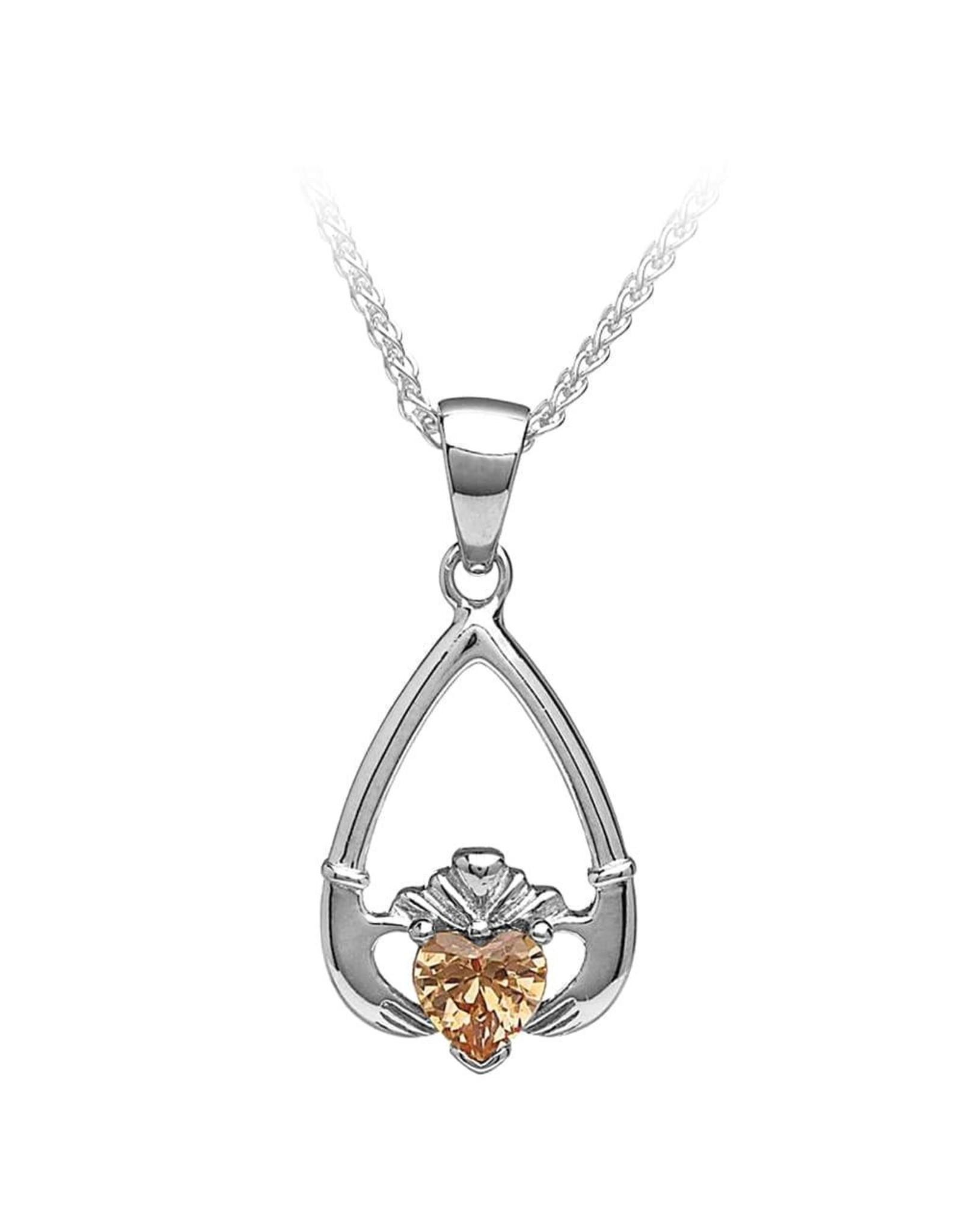 Boru Jewelry Birthstone Claddagh Pendant in Each Month