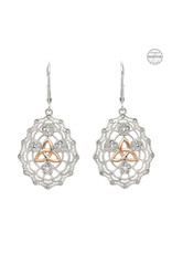 Shanore Irish Lace Sterling Silver Rose Gold Trinity Knot Earrings