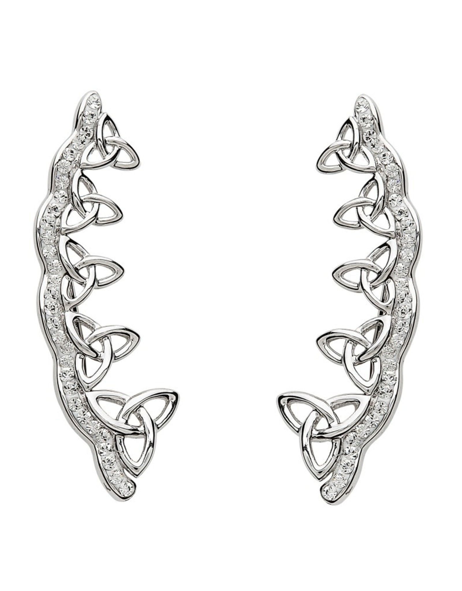 Shanore Celtic Trinity Knot Earrings Encrusted With White Swarovski Crystals