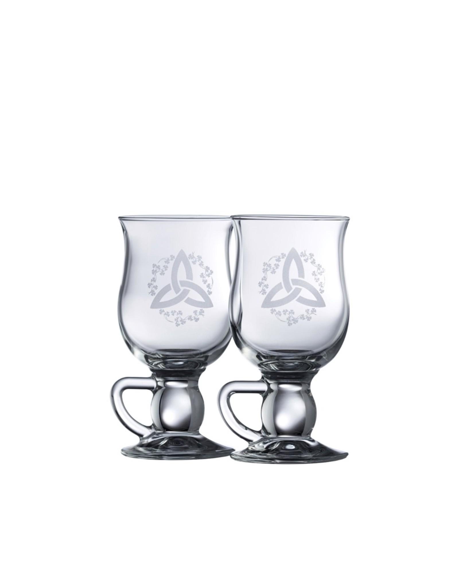 Galway Crystal Trinity Knot Latte Mugs Pair By Belleek
