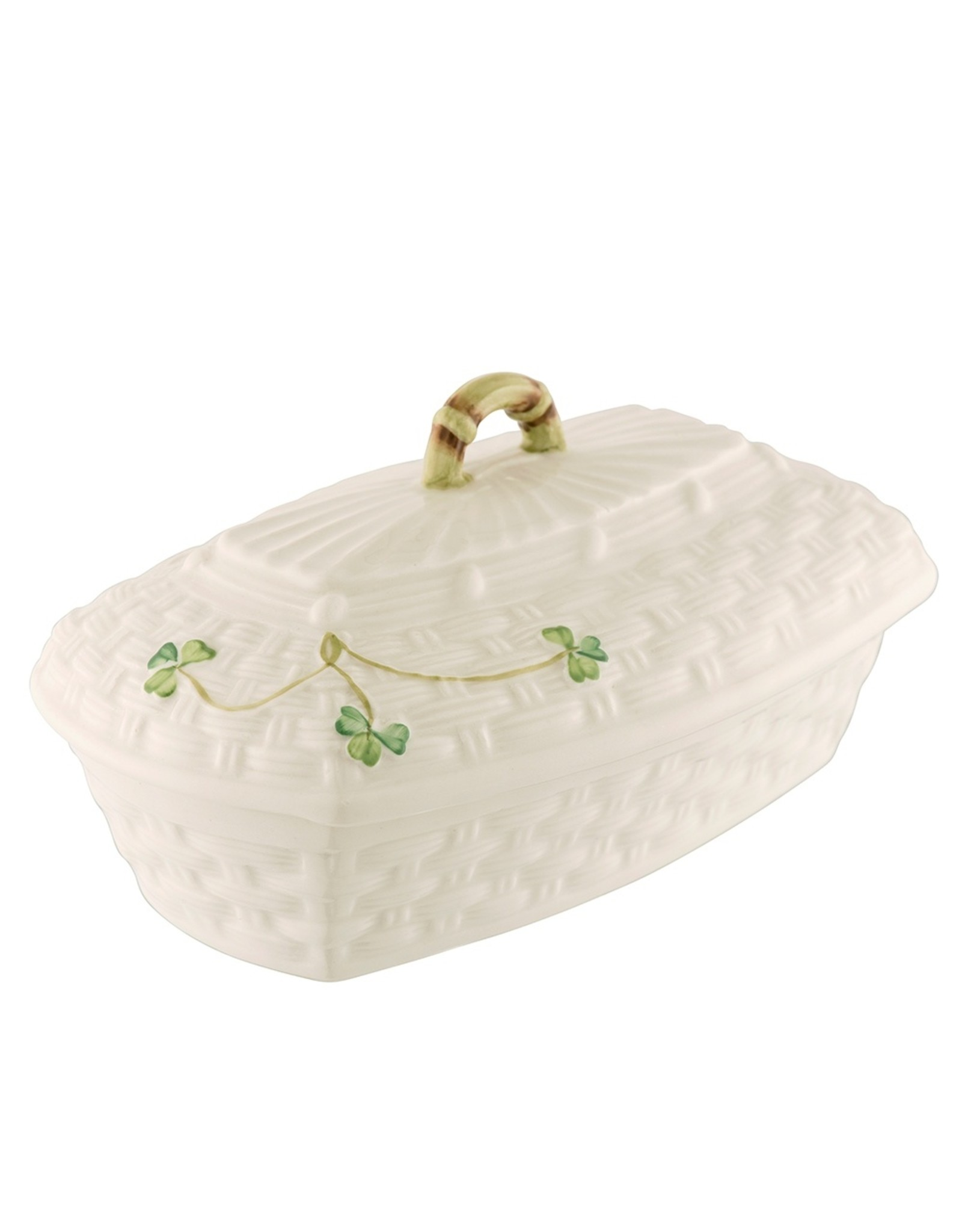 Belleek  Classic Shamrock Butter Dish by Belleek