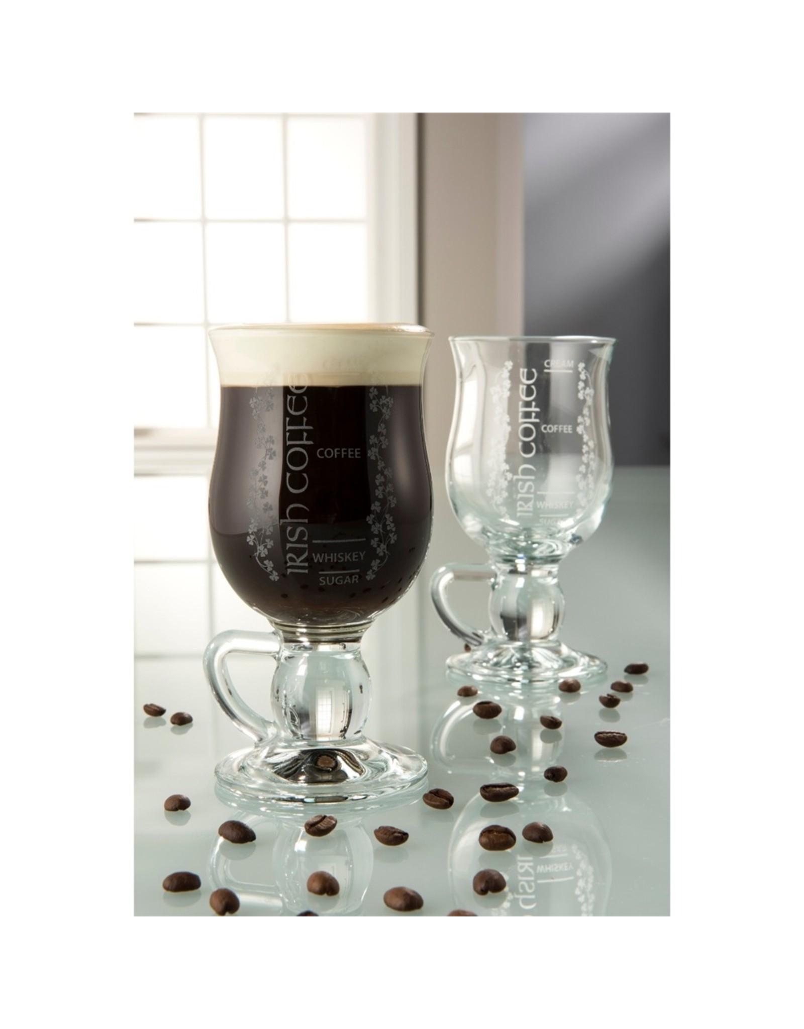 Belleek Galway Crystal Irish Shamrock Coffee Pair by Belleek