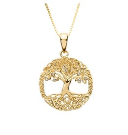 Shanore 10k Gold CZ Tree of Life Necklace