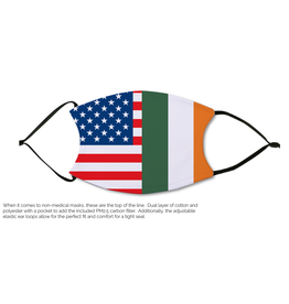Pichincha Irish and American Flag Face Cover Mask