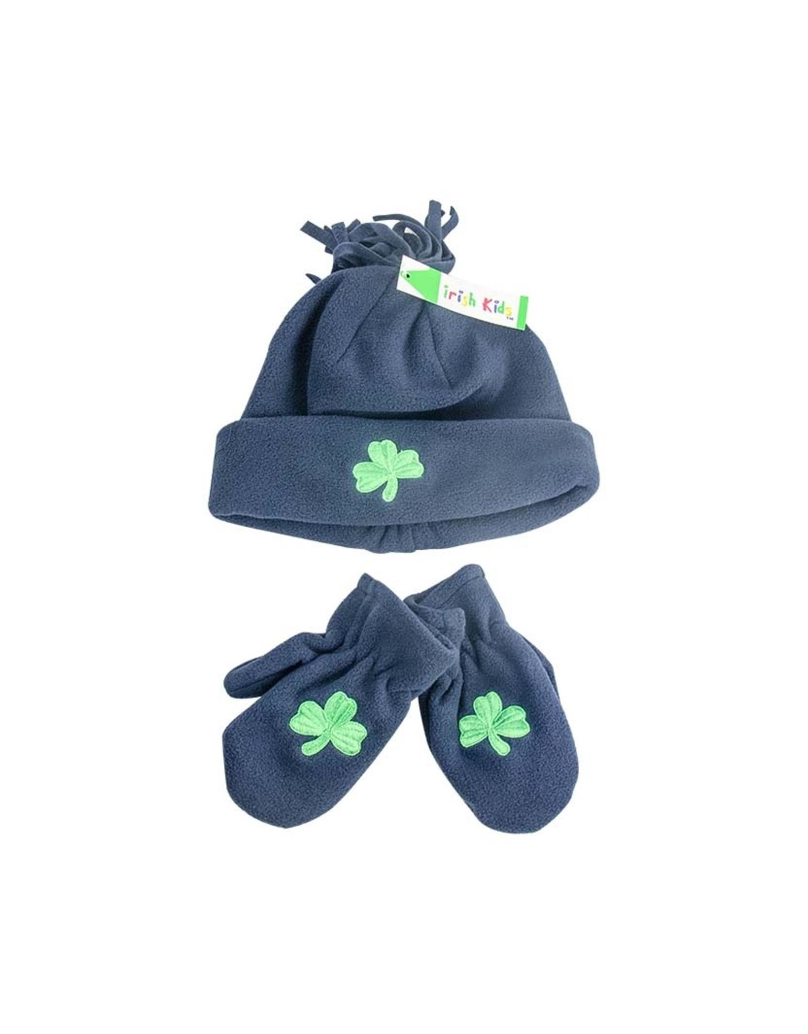 Bridgets of Erin Toddler Navy Fleece Shamrock Hat & Mittens Set
