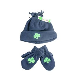 Bridgets of Erin Toddler Navy Shamrock Hat & Mittens Set
