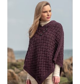 West End Knitwear Supersoft Merino 3-button Poncho in Plum