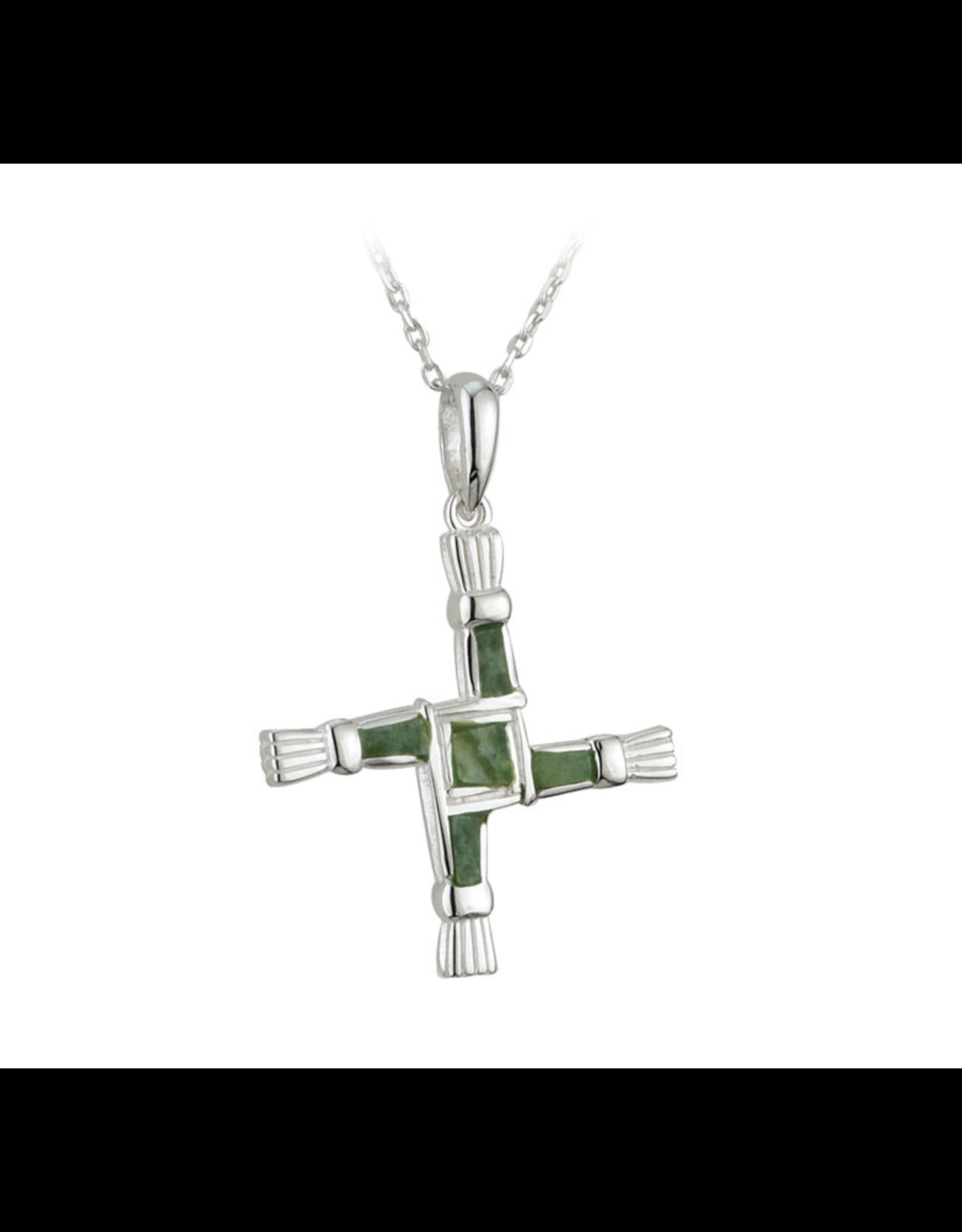 Solvar St. Brigid's Cross Pendant with Connemara Marble