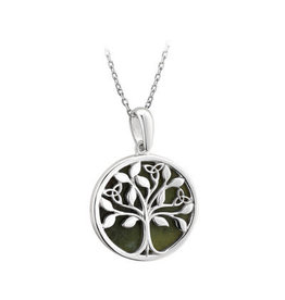Solvar Sterling Silver Connemara Marble Tree of Life Pendant