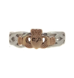 Facet Silver and Rose Gold Claddagh Ring