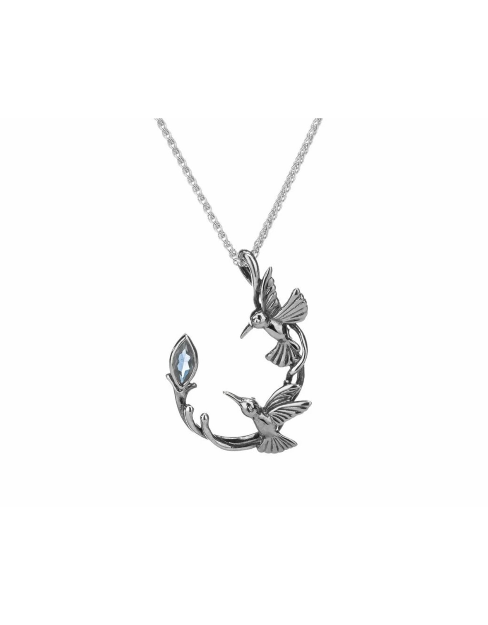 Keith Jack Hummingbirds Necklace: SS with Blue Topaz