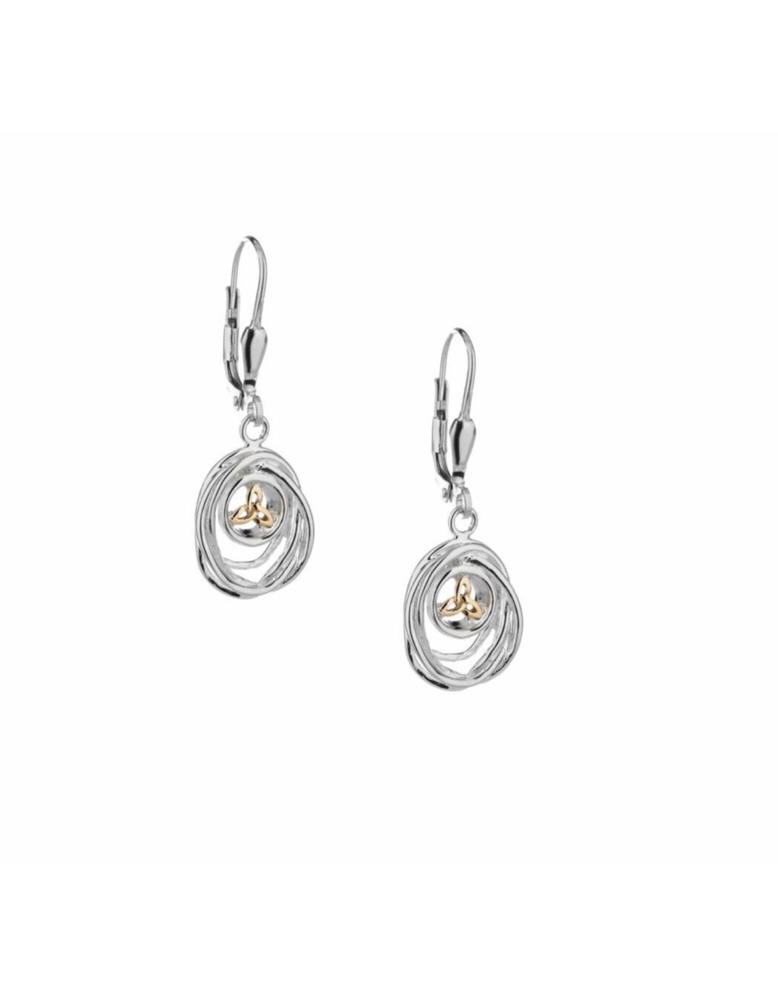 Keith Jack S/S + 10k Cradle of Life Drop Earrings