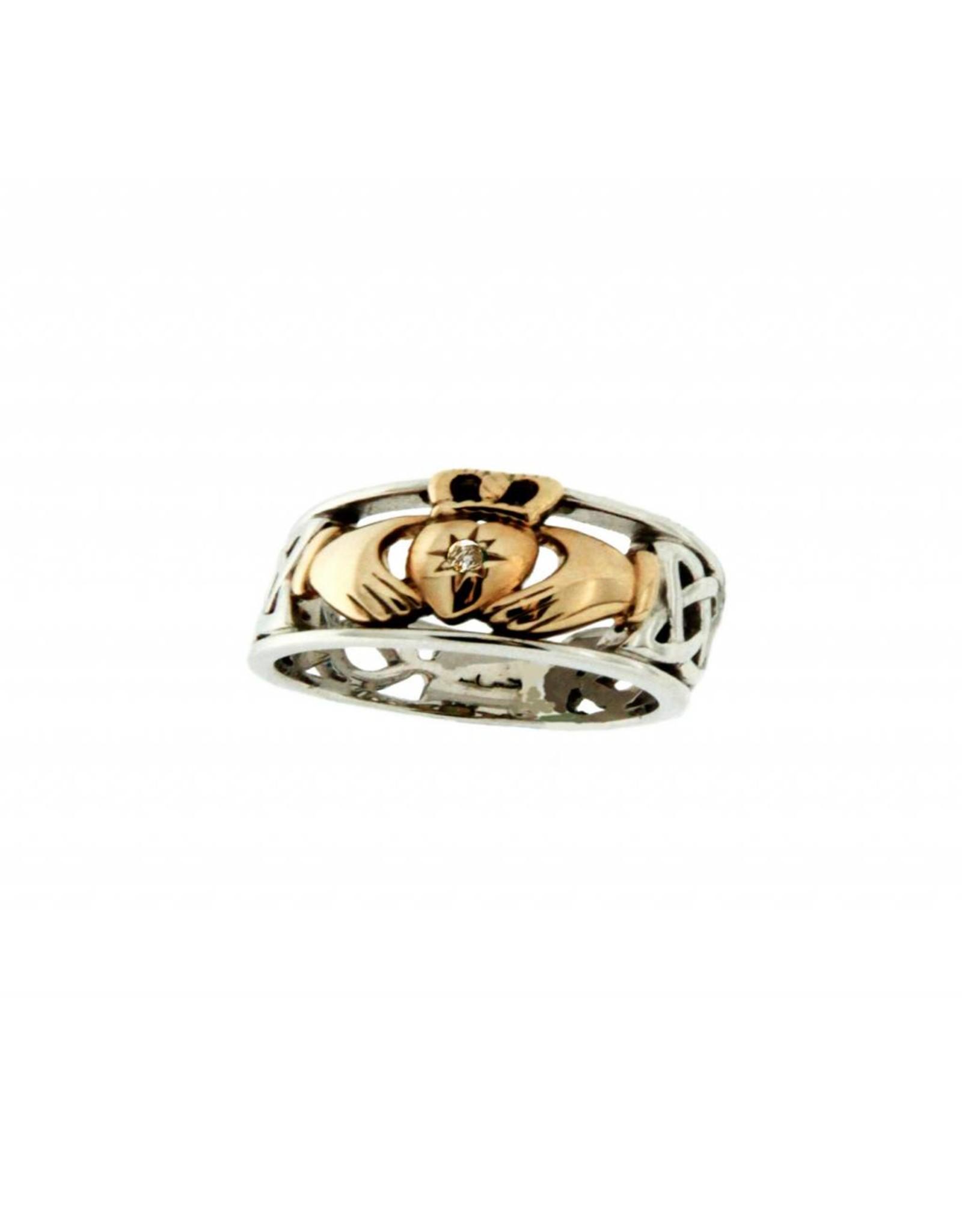Keith Jack Silver / 10k Gold Claddagh w/ Diamond
