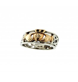 Keith Jack Silver / 10k Gold & Diamond Claddagh