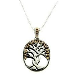 Keith Jack Silver + 18k Tree of Life Necklace