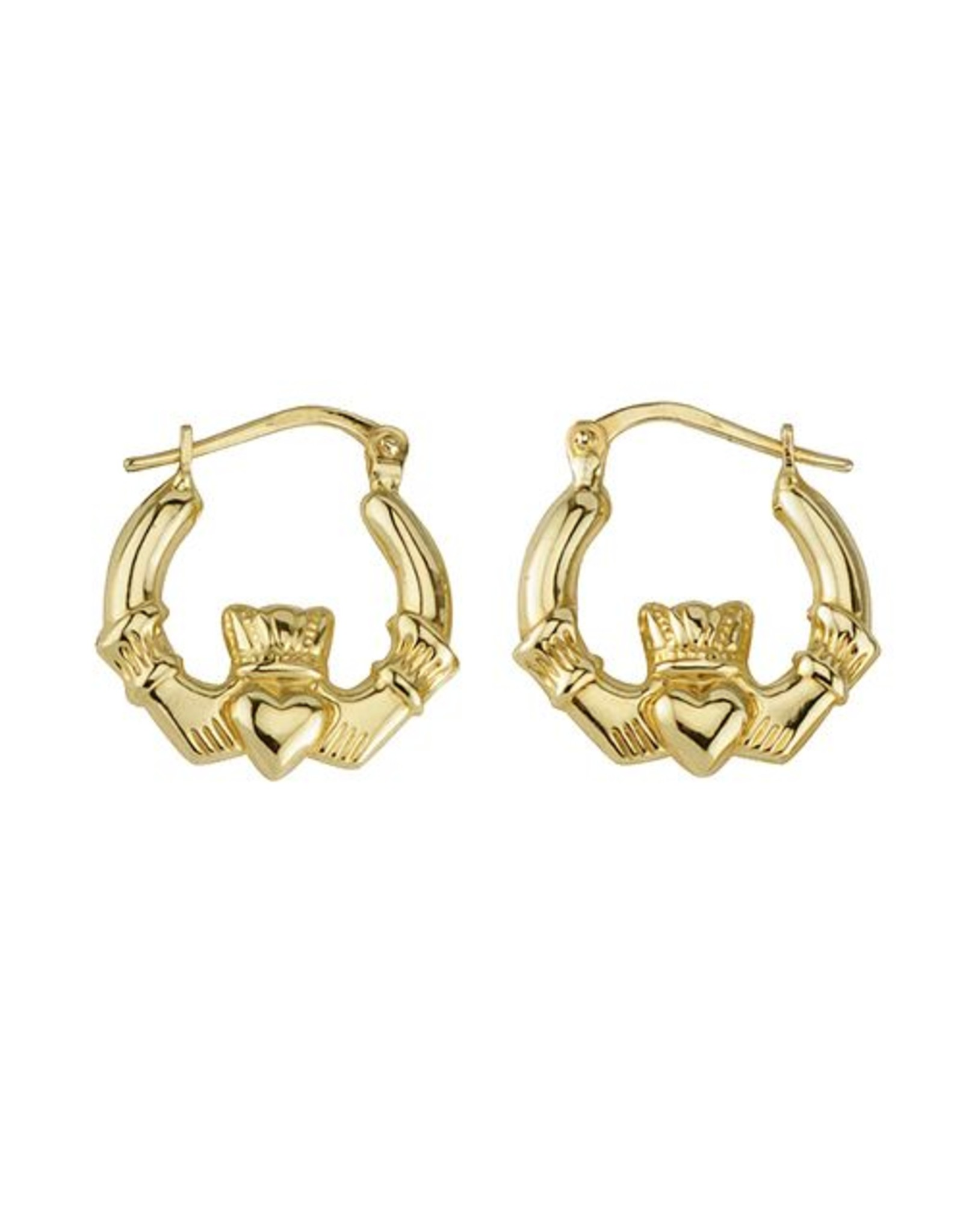 Solvar 10K Gold Claddagh Hoop Earrings Med