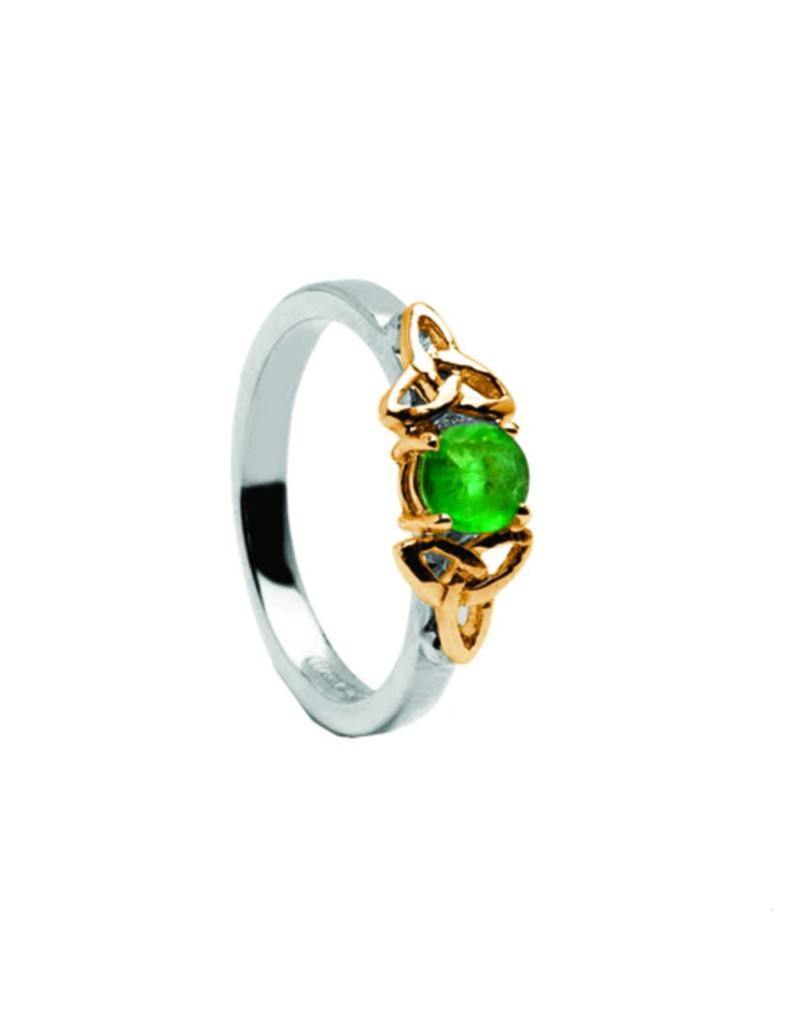 Emerald And 14k Gold Trinity Knot Ring Celtic Aer Gift Shop