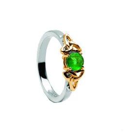 Boru Jewelry Emerald and 14k Gold Trinity Knot Ring