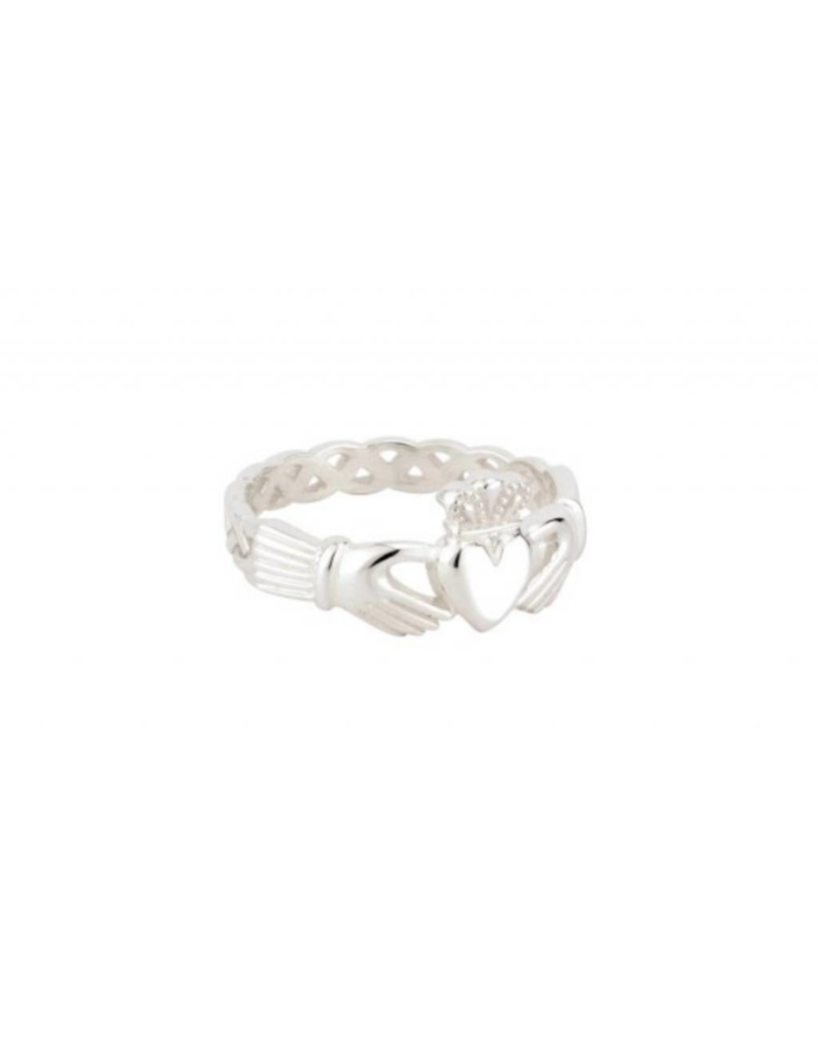 Solvar Sterling Silver Ladies Weave Claddagh Ring