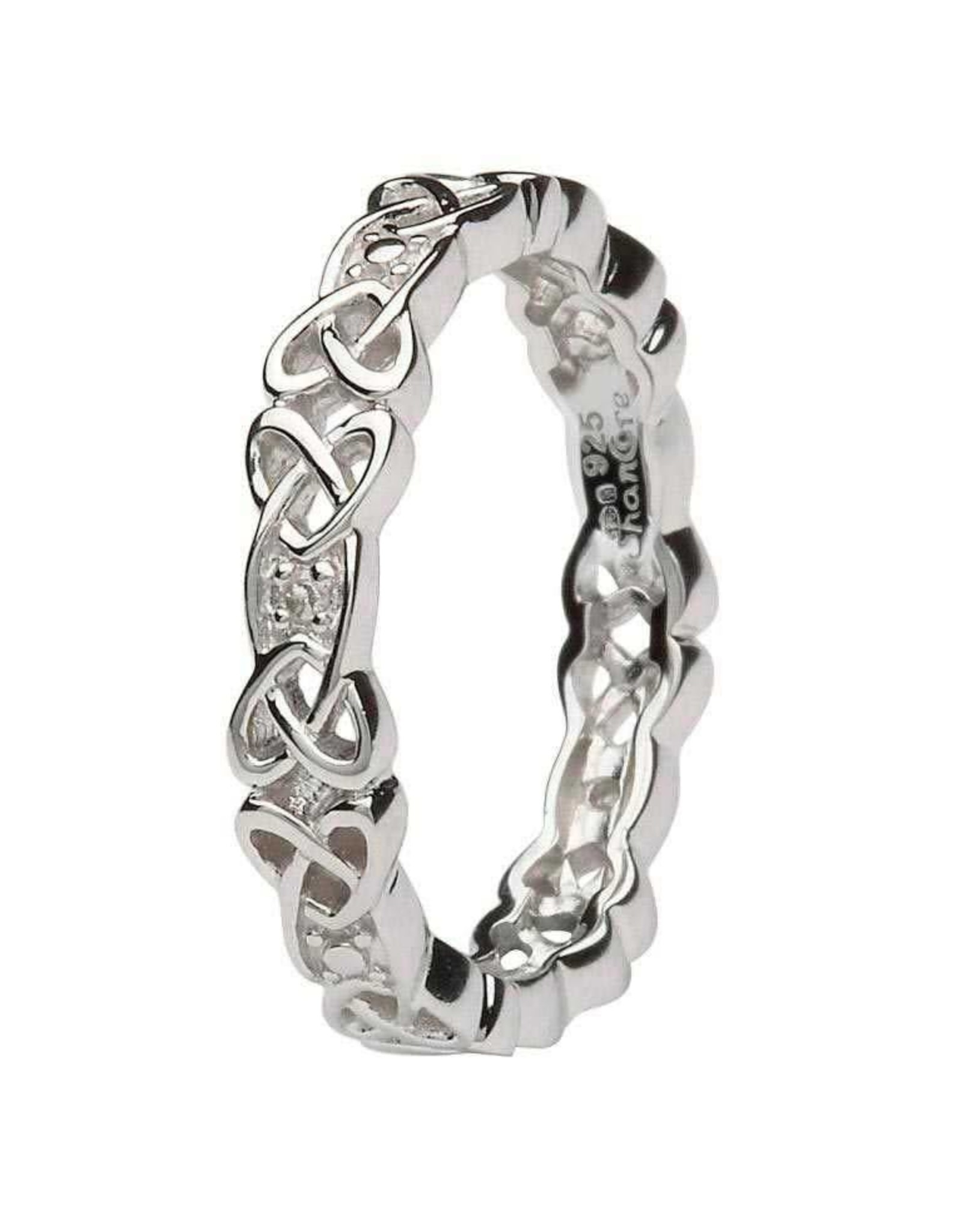 Shanore Ladies Silver Diamond Set Celtic Ring