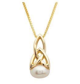 Shanore 10K Gold Celtic Pearl Trinity Necklace