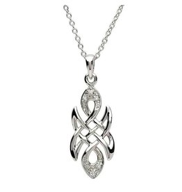 Shanore Silver Celtic knot Stone Set Necklace