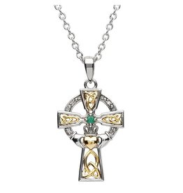 Shanore Two-tone Emerald & Diamond Celtic Cross