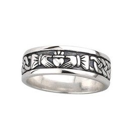 Solvar Mens Oxidized Silver Claddagh Band