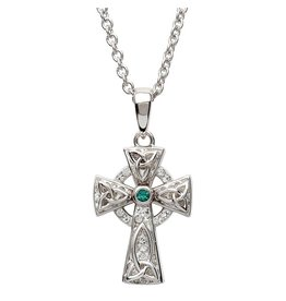 Shanore Sterling Silver White/Green Celtic Cross