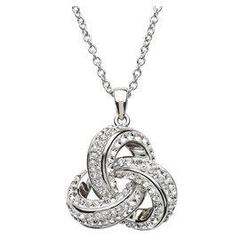 Shanore Sterling Silver Swarovski Trinity Necklace