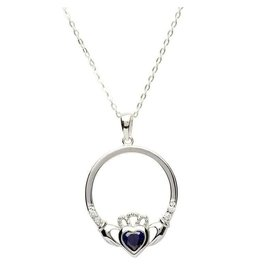 Shanore Claddagh Birth Stone Sapphire Necklace