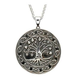 Shanore Silver Tree Of Life Trinity Medallion Necklace