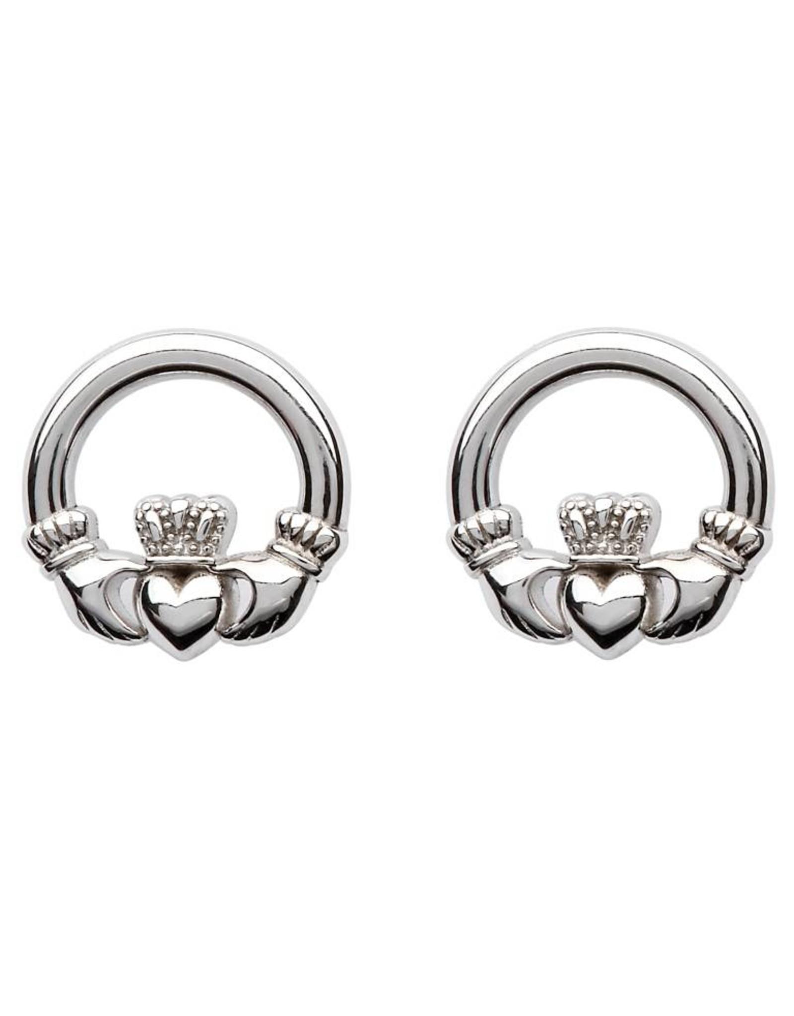 Shanore Sterling Silver Claddagh Stud Earrings