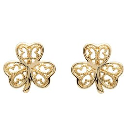 Shanore Gold 10K Shamrock Filigree Stud Earrings