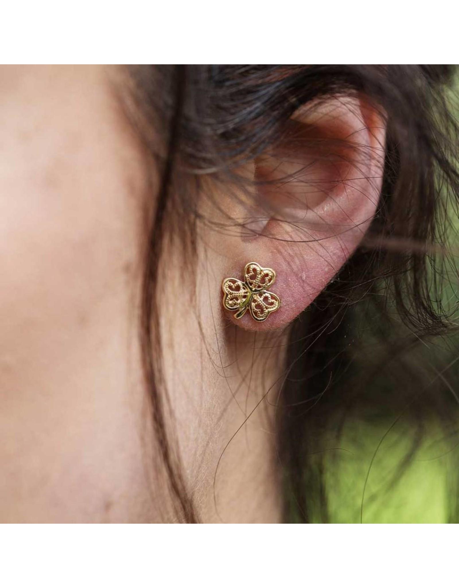 Shanore Gold 10K Shamrock Filigree Stud Earrings