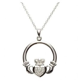 Shanore Sterling Silver Claddagh Stone Set Necklace