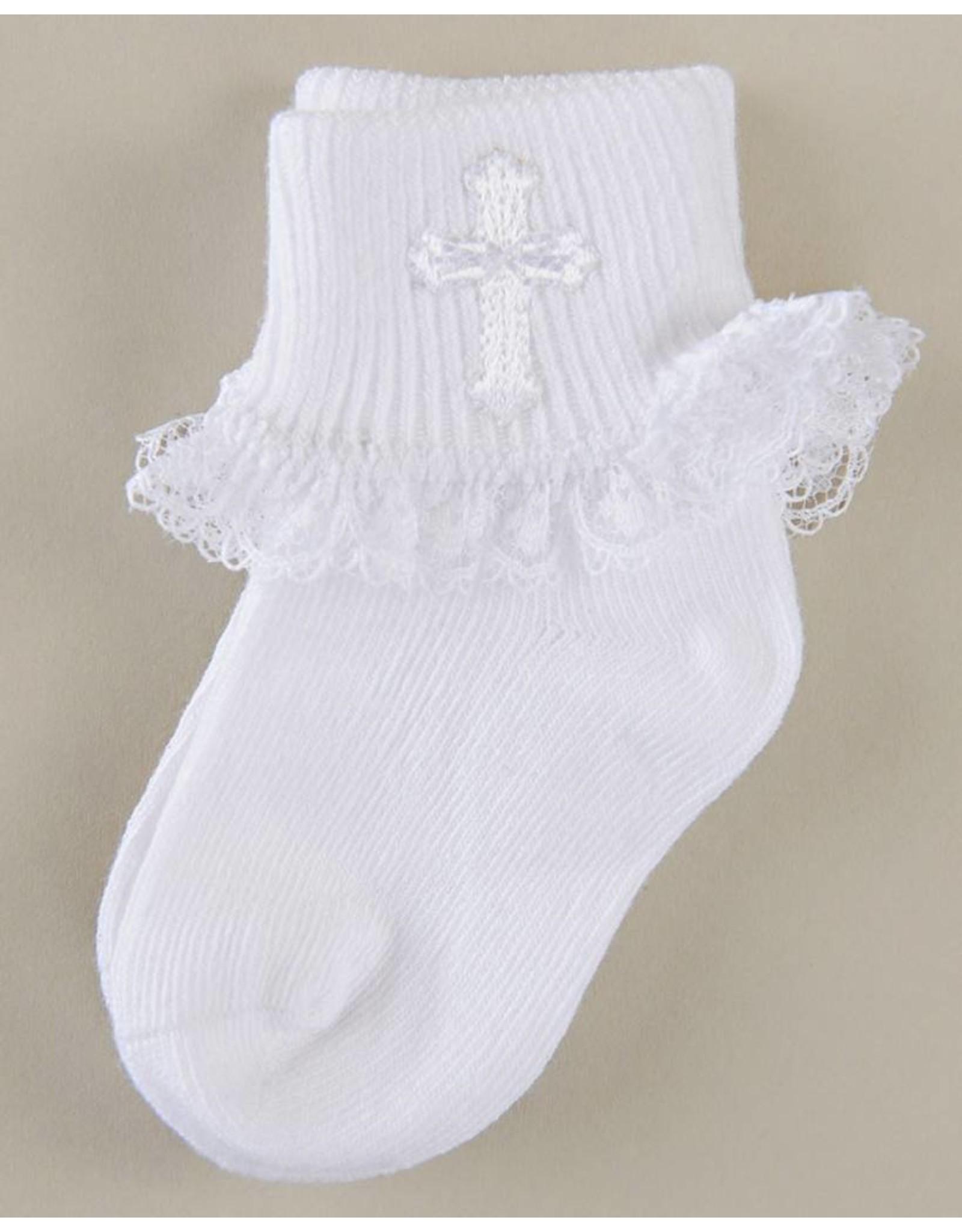 CBE, Inc. White Lace Socks with Cross