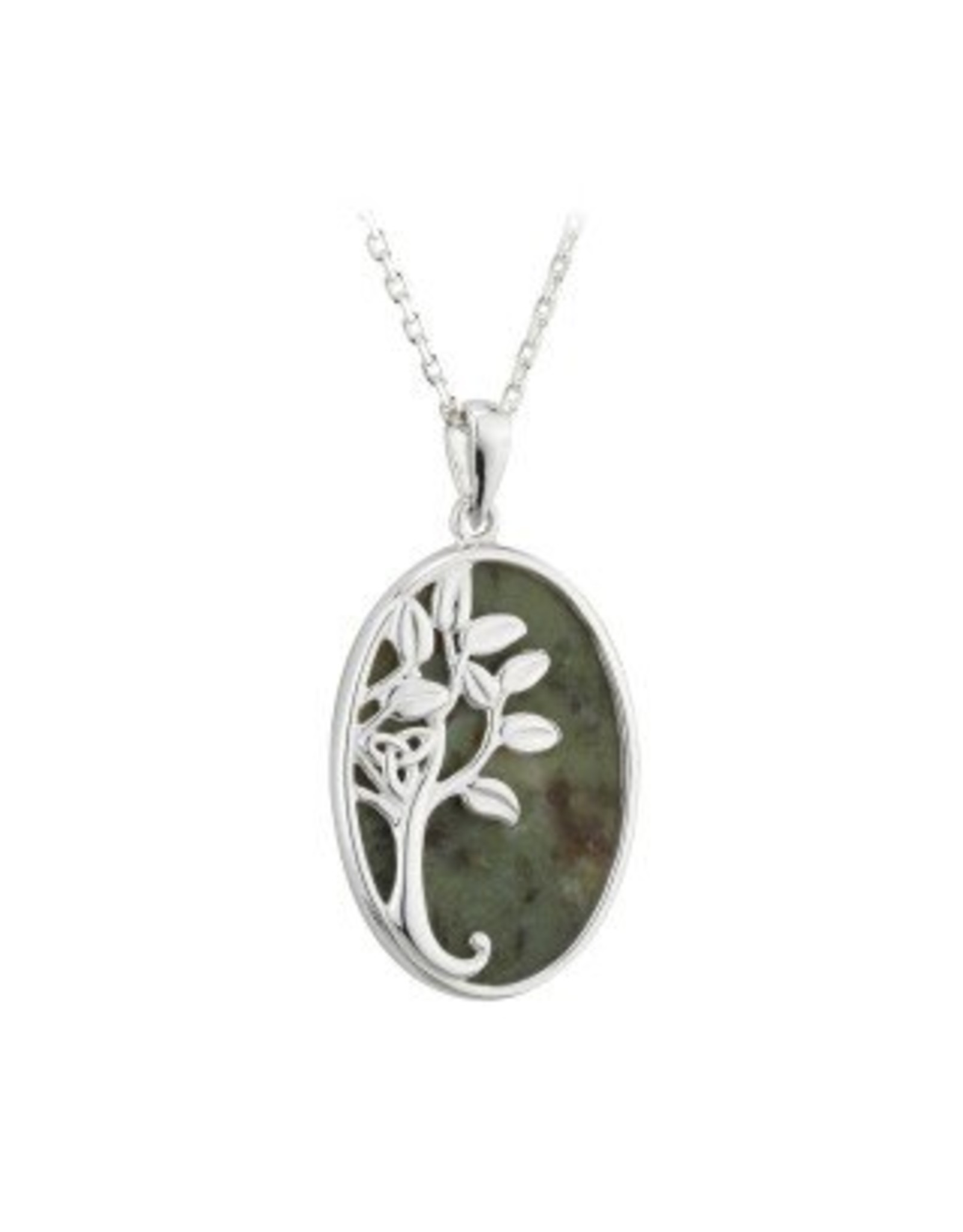 Solvar Sterling Silver Connemara Marble Tree of Life Necklace