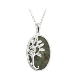 Solvar Silver Connemara Marble Tree of Life Necklace