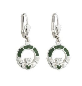 Solvar Sterling Silver Connemara Marble Claddagh Drop Earrings