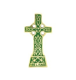 Liffey Artefacts Brass Standing Celtic Cross Small (Green)