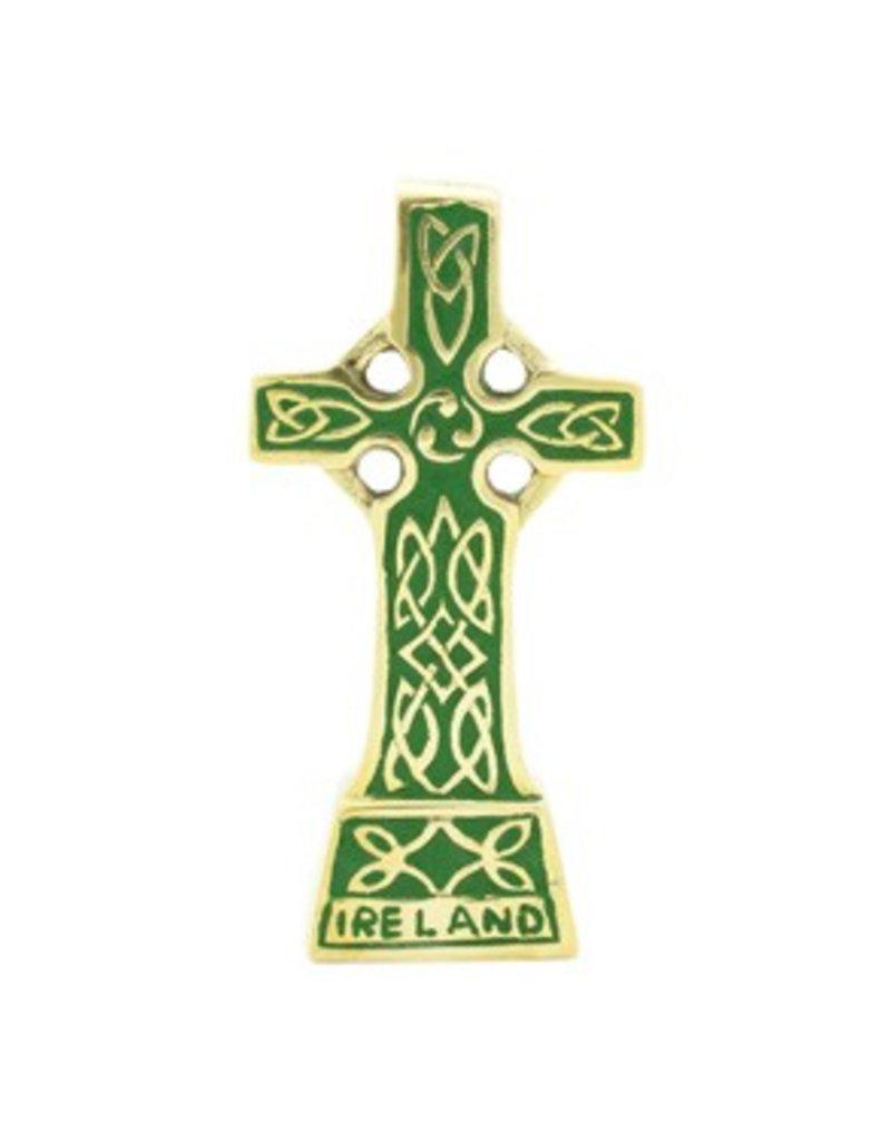 Liffey Artefacts Brass Standing Celtic Cross Small (Green)