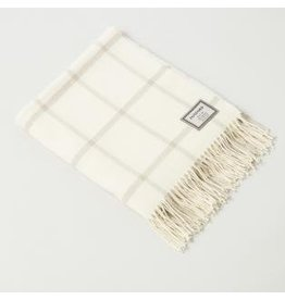 Foxford Lambswool Cream/Tan Windowpane Throw